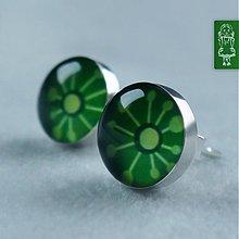 Náušnice - Tmavě zelení marťánci - stříbro - 789998