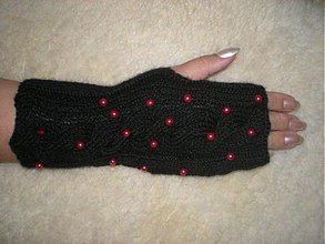 Rukavice - Čierne rukavičky s červenými perličkami - 790397
