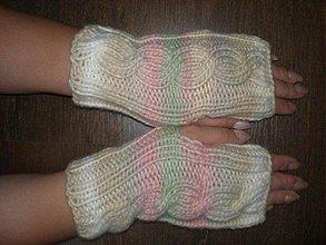 Rukavice - Ručne pletené rukavice-melírované - 790416