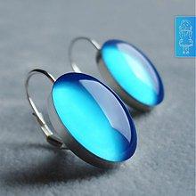 Náušnice - Nebesky modré - stříbro - 791148