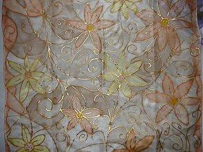 Šatky - Hodvábna šatka Kvety - 80139