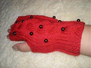 Rukavice - Červené s čiernymi perličkami - 802241