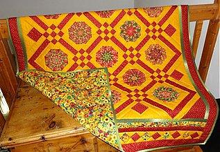 Úžitkový textil - Patchwork deka bordovo oranžová - 835526