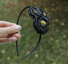 Ozdoby do vlasov - Čierna čelenka so saténovými kvetmi ° - 841208
