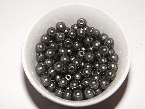 Korálky - GLANCE plast 4mm-120ks (čierna kovová) - 869572