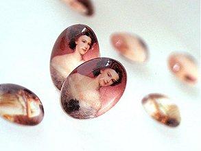 Komponenty - Vintage sklenený kabošon s motívom / 13x18mm (Helena) - 876245