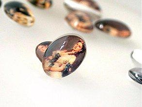 Komponenty - Vintage sklenený kabošon s motívom / 13x18mm (Elisabeth) - 876263