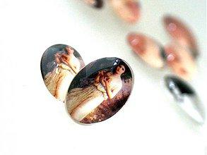 Komponenty - Vintage sklenený kabošon s motívom / 13x18mm (Europa) - 876325