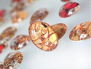 Komponenty - Vintage sklenený kabošon s motívom / 13x18mm (Klimt) - 880282