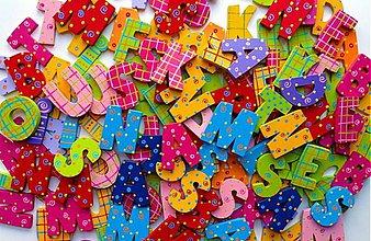 Magnetky - drevené písmenká so samolepom - 888256