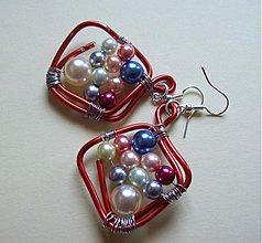 Náušnice - Farebné perličky - 89724