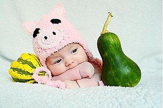 Detské čiapky - Ružové prasiatko - 897921