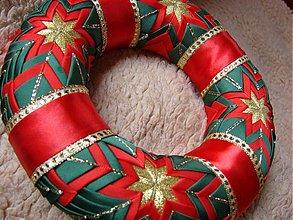 Dekorácie - vianočný patchworkový venček - 898195