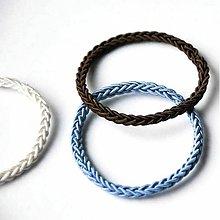 Ozdoby do vlasov - SET GUMIČIEK| Bielo - modro - hnedý - 910839