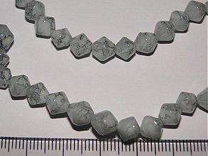 Korálky - Skl.tlačené korálky 6mm-10ks (šedá) - 936696