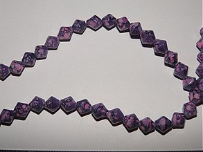 Korálky - Skl.tlačené korálky 6mm-10ks (fial.ružová) - 936718