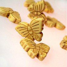 Minerály - Howlit korálka / motýlik (Stará žltá) - 953404