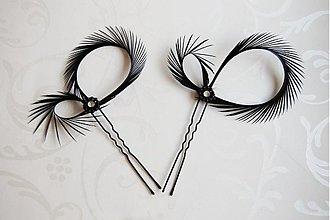Ozdoby do vlasov - Mini fascinátory do vlasov čierne - 961637