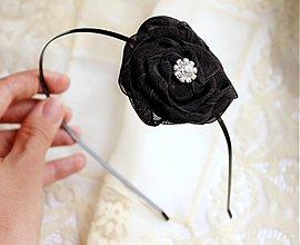 Ozdoby do vlasov - Čelenka s čiernym kvetom a štrasom - 968526