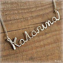Náhrdelníky - Náhrdelník s menom z postriebreného drôtu: 6-8 písmen (Katarina) - 971889