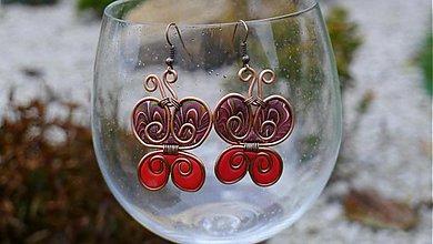 Náušnice - Červené motýliky - 972743