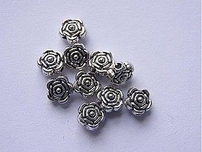Korálky - Kovová korálka ruža 6,5 mm - starostriebro - 10ks - 985375