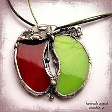 Náhrdelníky - červeno zelené jabĺčko - 990065