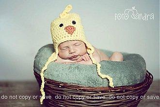 Detské čiapky - Žlté kuriatko - 992503